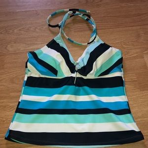 Ocean Dream Tankini Top Striped  6  8  Blue